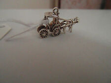 6D BEAUTIFUL SOLID SILVER VINTAGE HORSE AND CARRIAGE CHARM