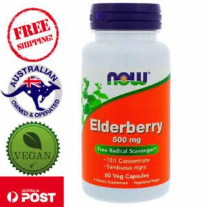Now Foods, Elderberry, 500 Mg, 60 Veg Caps 10.1 Concentrate Sambucus Nigra