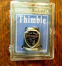 VINTAGE LAKE TAHOE NEVADA SOUVENIR PEWTER THIMBLE M.I.CLEAR LUCITE BOX OLD STOCK