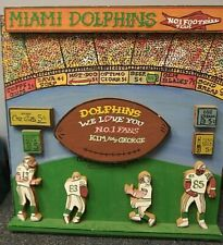 Harry Glaubach Hand Signed Wooden Artwork - Miami Dolphins