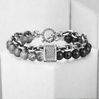Dual Layers Black Onyx Jasper Stone Beads Bracelet Stainless Steel Chain Jewelry