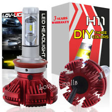 H11 High Beam LED Headlight Bulbs Kit 6000K Xenon White 3K Yellow 10K Light Blue