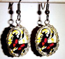 Ohrringe Schmetterling Tiere Rot Oval Glas Cabochon Damen Ohrschmuck Modeschmuck