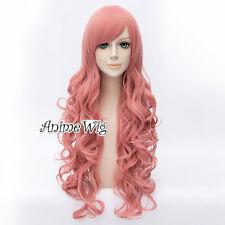 Ladies Long Curly 80CM Milkshake Pink Daily Party Anime Cosplay Wig + Free Cap