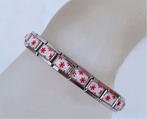 Italian Charms Complete Bracelet Red Floral Flowers All classic size charms fit