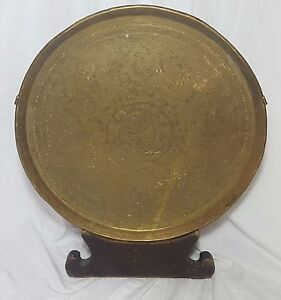 Beautiful Antique Large  Middle Eastern Brass Tray With Custom made Wooden Stand
