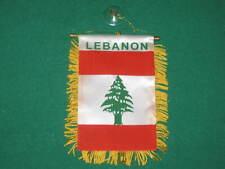 "LEBANON FLAG MINI BANNER 4""x6"" CAR WINDOW MIRROR NEW"