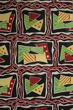 Vintage mid century modern  fabric material 1950's French upholstery abstract