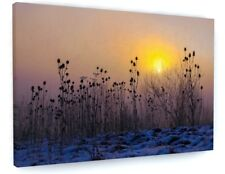More details for stunning winter snow landscape sunset canvas picture print wall art #4002
