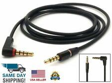3.5mm Male to Male 4-Pole Cable Cord L-Shaped Angle Car Audio Headphone Jack Bla