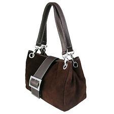 Women Italian Real Suede Leather Shoulder Handbag Ladies Tote Weekend Bag