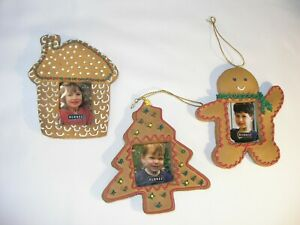Picture Frame Christmas Ornaments..Tree, Gingerbread Man & Cottage