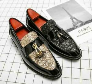 Mens Leather Shoes Flat Tassel Nightclub Pumps Oxfords Slip-on Wedding Trendy 47