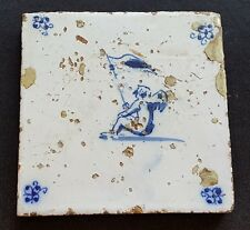 Blue & white vintage pre Victorian antique ceramic tile B