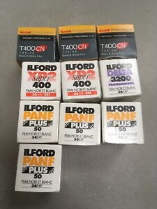 10 ROLLS OF BLACK & WHITE 35MM FILM, MIXED LOT, EXPIRED BUT COLD STORED