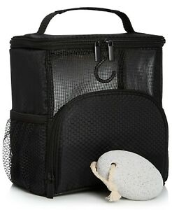 Macy's Shower Caddy Hanging Toiletry Bag Bath Organizer mesh train case black