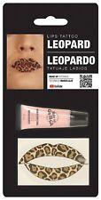 Ladies Leopard Lip Transfer Animal Halloween Make Up Fancy Dress Costume Kit