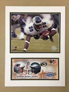 BRIAN WESTBROOK SUPER BOWL XXXIX EAGLES 12X16 DOUBLE MATTED PHOTO & EVENT COVER