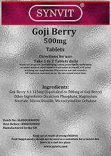 Goji Berry 500mg 120 Tablets Antioxidant Supplement SYNVIT®