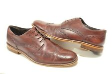 Joseph Abboud 11 Mahogany Burgundy Brown Leather Wing Tip Derby Dress Shoes
