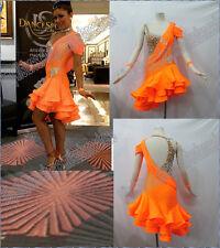 Orange latin dress, LATIN RHYTHM SALSA BALLROOM DANCE DRESS COMPETITION