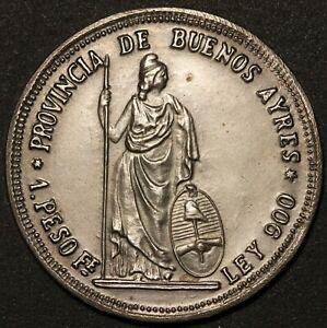 1879 Argentina Buenos Aires 1 Peso Banco de la Provincia Silver Coin