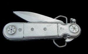 CAST PEWTER JACK KNIFE NOVELTY BELT BUCKLE US MADE NEW!