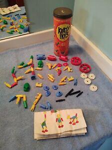 OLD Vtg Krazy Ikes Plastic Snap Action Building Toy Original Can Lid Instruction