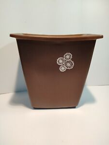 Vintage 70's Rubbermaid Small Trash Can Brown w/ White Flowers