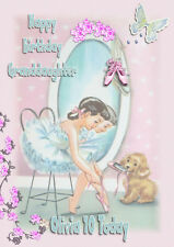 Personalised birthday card ballerina and puppy daughter grandaughter niece