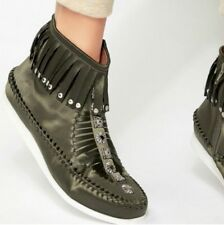 NEW Free People Jeffrey Campbell green Satin Fringe Stud Mocassin Bootie 8.5