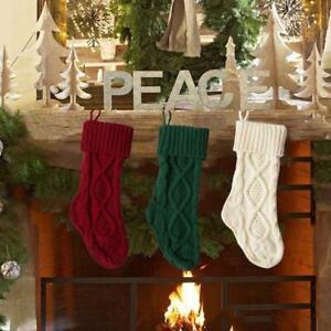 Christmas Stocking Knit Sock Santa Candy Gift Bag Xmas Tree Hanging Decor UK