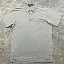 Ralph Lauren Polo Shirt Adult Large Gray Blue Pony Casual Rugby Cotton Mens