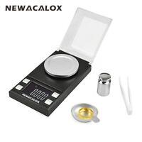 NEWACALOX 50g/100g x 0.001g LCD Digital Milligram Scale Gram Jewelry Weighing BK