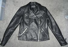 Warehouse Ladies Black Leather Jacket Size 12