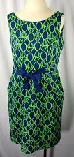 Lilly Pultizer Navy Green Geometric Print Belted Dress  Women Size M