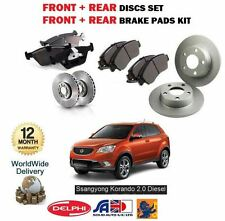 FOR SSANGYONG KORANDO 2.0 EXDI 4X4 2010-> FRONT + REAR BRAKE DISC SET & PADS KIT