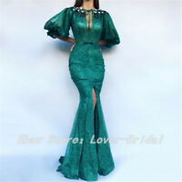 Green Mermaid Evening Dress Half Sleeves Arabic Long Formal Party Prom Gowns
