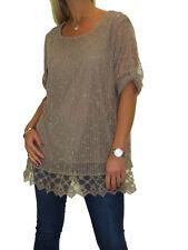 NEW Plus Size Lace Net Top, Sequin Detail Evening Party Beige 12-22