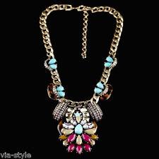 Imposant Bohèmien Collier Chaîne Chaîne Vintage Cristal Perle Bloger