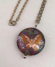 Vintage Enamel Cloisonne Butterfly Flower Puffy Pendant Necklace Gold Tone Chain