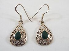 "Sterling Silver Teardrop Malachite Scrollwork Dangle Hook Earrings 3/4"" Long"