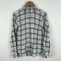Country Road Button Shirt Top Womens Small White Long Sleeve Plaid Collared