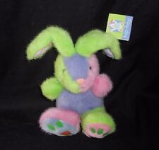 "7"" GAC 1999 GREEN PINK PURPLE EASTER BABY BUNNY RABBIT STUFFED ANIMAL PLUSH TOY"