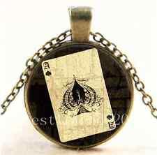 Vintage Retro Ace of Spades Cabochon Glass Bronze Chain Pendant  Necklace
