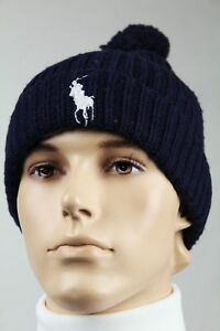 Polo Ralph Lauren Navy Lambs Wool Cashmere Beanie Hat Skull White Big Pony NWT