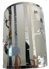 FROSTED GLASS T-LIGHT HOLDER WITH SILVER WOODLAND CREATURES