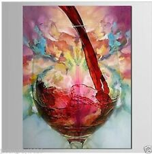 Hand Painted Oil Painting on canvas-Still Life Red Wine Abstract (No Frame)