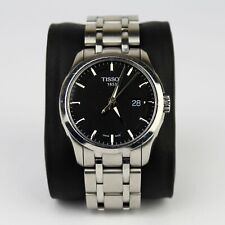 Mens Tissot Couturier Watch T0354101105100 Black Face Silver Bracelet