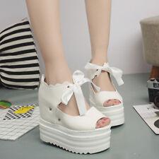 Womens Roman Hidden Wedge Heels Lace Up Platform Creepers Sandals High Top Shoes